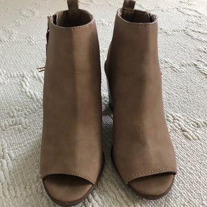 Open toed tan heels